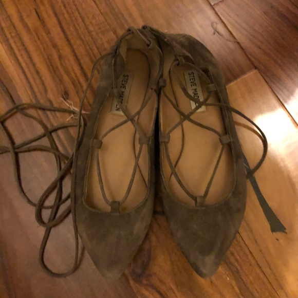 Steve Madden Shoes - Steve Madden Grey Suede Lace Up Flats